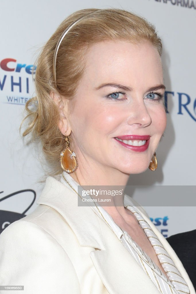 Actress Nicole Kidman arrives at CW3PR Presents the inaugural 'Gold Meets Golden' event at New Flagship Equinox Sports Club on January 12, 2013 in Los Angeles, California.