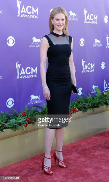 Actress Nicole Kidman arrives at the 47th Annual Academy Of Country Music Awards held at the MGM Grand Garden Arena on April 1 2012 in Las Vegas...