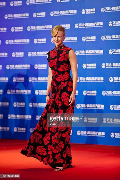 Actress Nicole Kidman arrives at the red carpet during the opening night of the Qingdao Oriental Movie Metropolis at Qingdao Beer City on September...