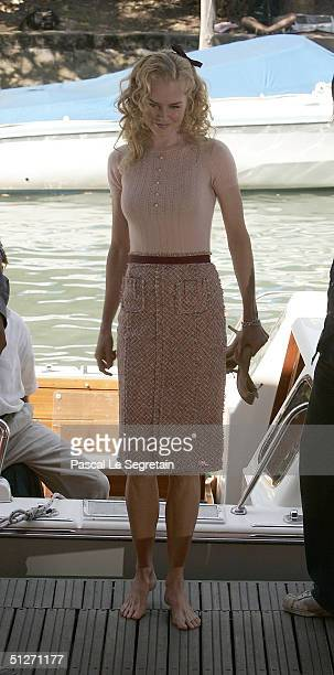 Actress Nicole Kidman arrives by boat for the Birth Photocall at the 61st Venice Film Festival on September 8 2004 in Venice Italy