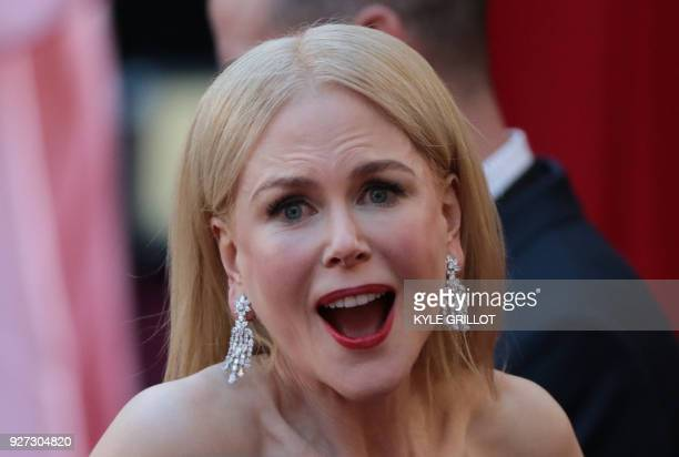 TOPSHOT Actress Nicole Kidman arrives for the 90th Annual Academy Awards on March 4 in Hollywood California / AFP PHOTO / Kyle GRILLOT