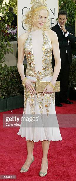 Actress Nicole Kidman attends the 61st Annual Golden Globe Awards at the Beverly Hilton Hotel on January 25 2004 in Beverly Hills California