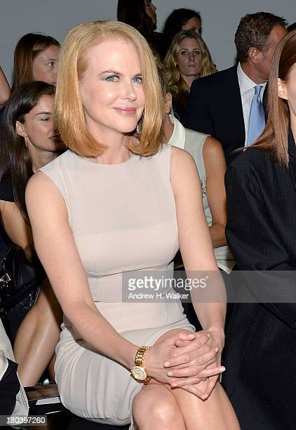 Actress Nicole Kidman attends the Calvin Klein Collection fashion show during Mercedes-Benz Fashion Week Spring 2014 at Spring Studios on September...