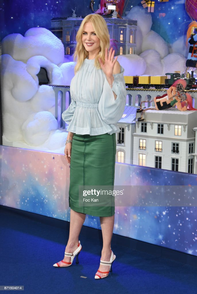 Actress Nicole Kidman attends the 'Le Printemps' Christmas Decorations inauguration at Le Printemps on November 7, 2017 in Paris, France.