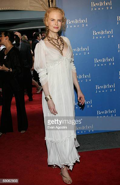 """Actress Nicole Kidman attends the premiere of """"Bewitched"""" at the Ziegfeld Theatre June 13, 2005 in New York City."""