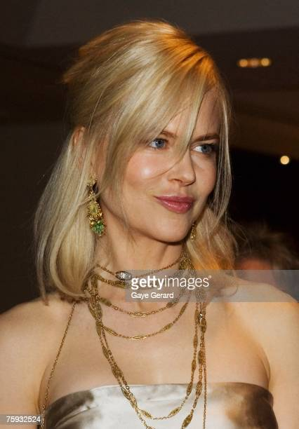 Actress Nicole Kidman attends the White Tie Dinner Fundraiser to support the White Ribbon Foundation on White Ribbon Day August 02 2007 in Sydney...