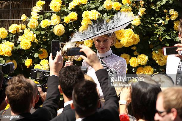 Actress Nicole Kidman attends Victoria Derby Day at Flemington Racecourse on November 3 2012 in Melbourne Australia