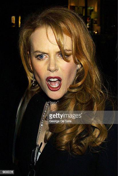 """Actress Nicole Kidman leaves the party following the premiere of """"Moulin Rouge"""" April 17, 2001 in New York City."""