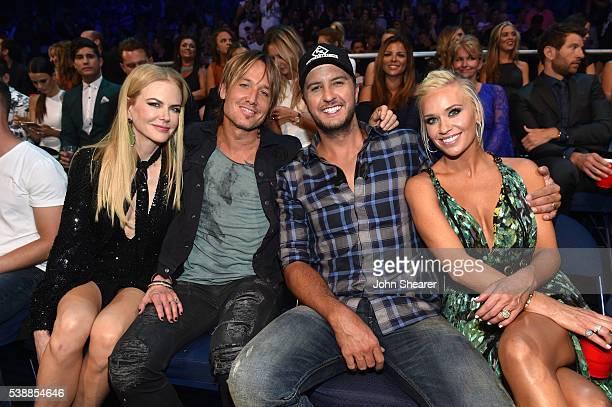 Actress Nicole Kidman musicians Keith Urban and Luke Bryan and Caroline Boyer attend the 2016 CMT Music awards at the Bridgestone Arena on June 8...