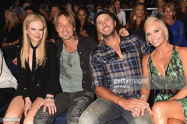 Actress Nicole Kidman musicians Keith Urban and Luke Bryan and Caroline Boyer attend the 2016 CMT Music awards at the Bridgestone Arena on June 8...