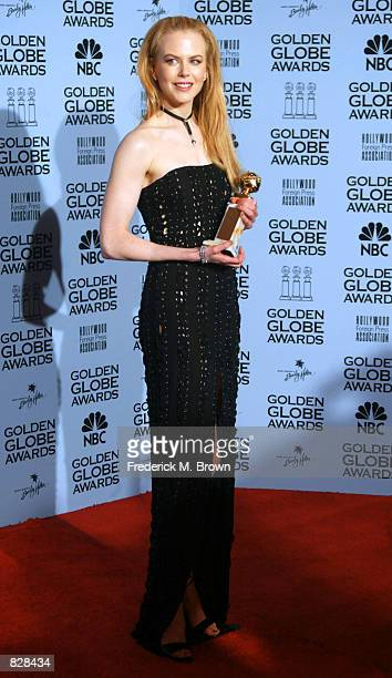 Actress Nicole Kidman poses backstage during the 59th Annual Golden Globe Awards at the Beverly Hilton Hotel January 20 2002 in Beverly Hills CA