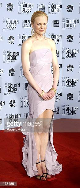 Actress Nicole Kidman poses backstage during the 60th Annual Golden Globe Awards at the Beverly Hilton Hotel on January 19 2003 in Beverly Hills...
