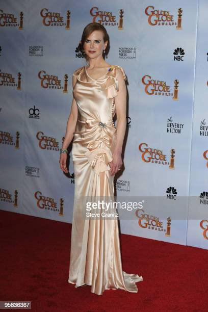 Actress Nicole Kidman poses in the press room at the 67th Annual Golden Globe Awards at The Beverly Hilton Hotel on January 17 2010 in Beverly Hills...