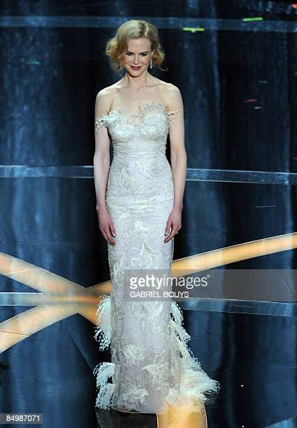 Actress Nicole Kidman presents during the 81st Annual Academy Awards held at Kodak Theatre on February 22 2009 in Hollywood California AFP PHOTO /...