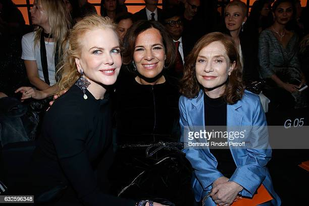Actress Nicole Kidman Roberta Armani and actress just nominated for Oscars 2017 Isabelle Huppert attend the Giorgio Armani Prive Haute Couture Spring...