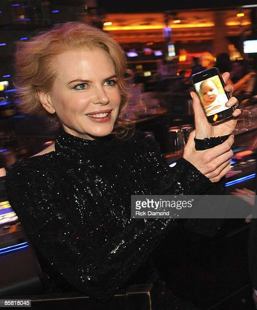 Actress Nicole Kidman shows off baby pictures of daughter Sunday Rose during the Captiol Records Nashville post ACM Party held at Centrifuge Bar in...