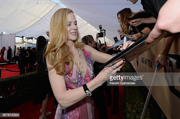 Actress Nicole Kidman signs an autograph at the 22nd Annual Screen Actors Guild Awards at The Shrine Auditorium on January 30 2016 in Los Angeles...