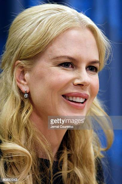 Actress Nicole Kidman speaks at a UNIFEM press conference at the United Nations on April 22 2008 to announce the kickoff of a new UNIFEM Campaign to...