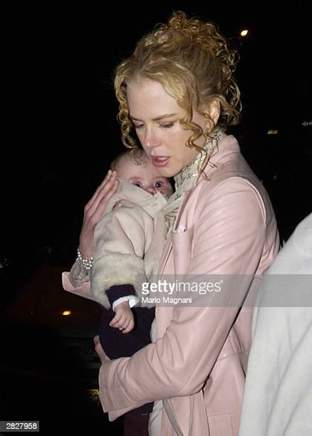 Actress Nicole Kidman walks out of her apartment with her four-month-old nephew, James, November 23, 2003 in New York City. James is the son of...