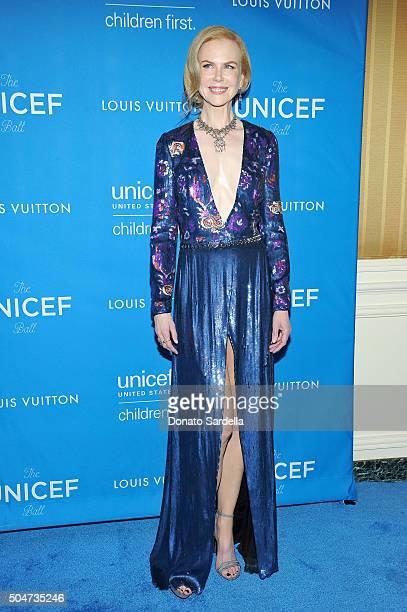 Actress Nicole Kidman wearing Louis Vuitton attends the Sixth Biennial UNICEF Ball Honoring David Beckham and C L Max Nikias presented by Louis...