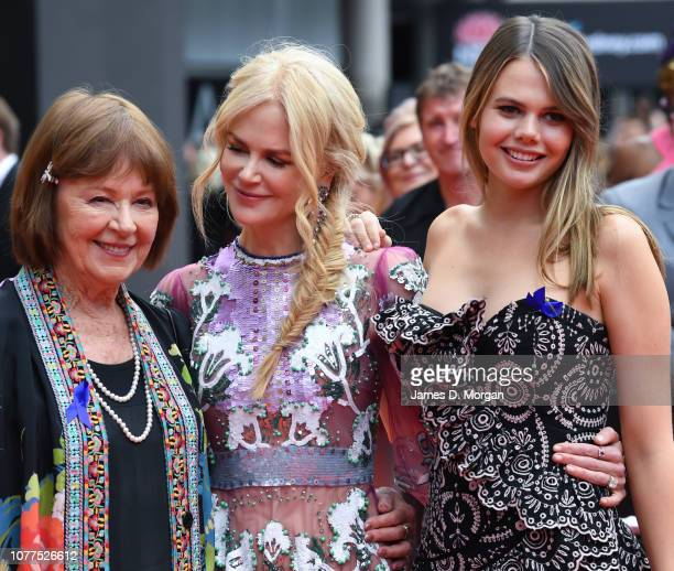 Actress Nicole Kidman with her mother Janelle Ann Kidman and niece Lucia Hawley as they attend the 2018 AACTA Awards Presented by Foxtel at The Star...