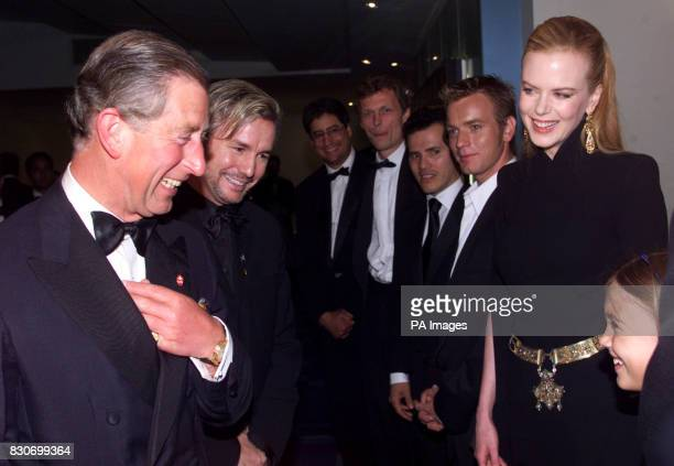 Actress Nicole Kidman with Prince Charles at the premiere of Moulin Rouge