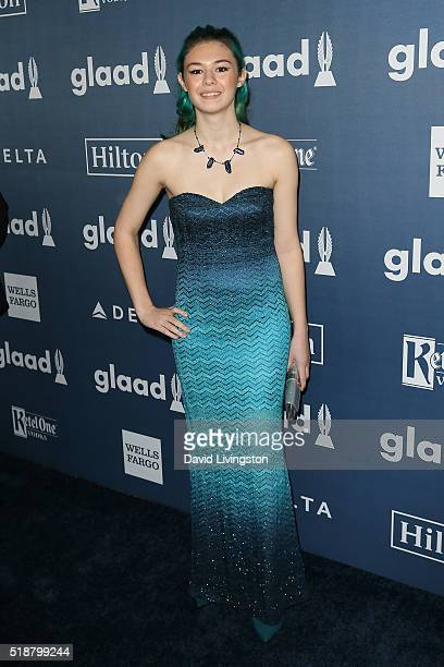 Actress Nicole Maines arrives at the 27th Annual GLAAD Media Awards at The Beverly Hilton Hotel on April 2 2016 in Beverly Hills California