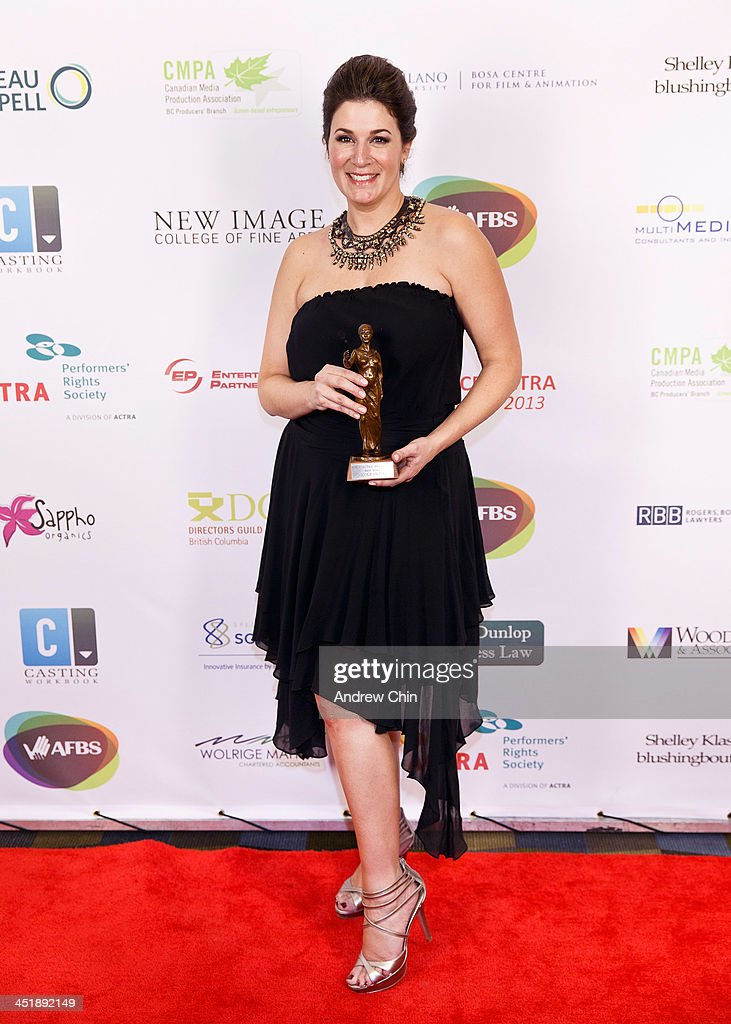 Actress Nicole Oliver wins Best Voice Award at 2013 UBCP/ACTRA Awards on November 24, 2013 in Vancouver, Canada.