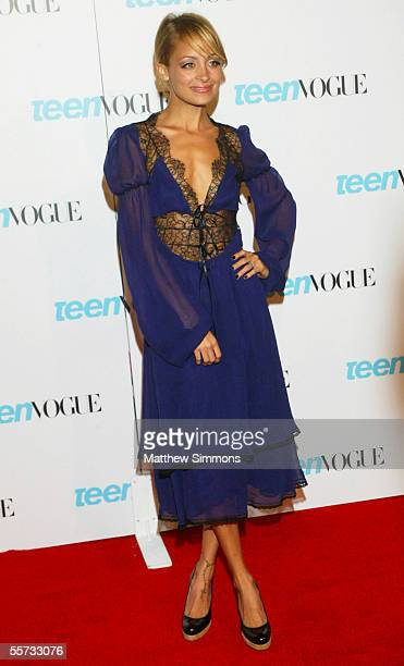 Actress Nicole Richie arrives to the Teen Vogue Young Hollywood Issue Party at The Hollywood Roosevelt Hotel on September 20 2005 in Hollywood...