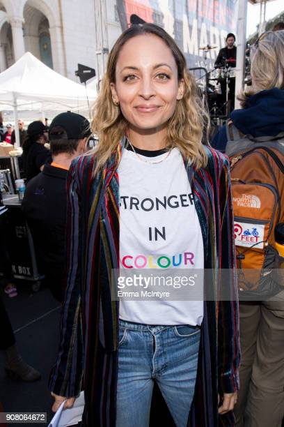 Actress Nicole Richie attends the women's march Los Angeles on January 20 2018 in Los Angeles California
