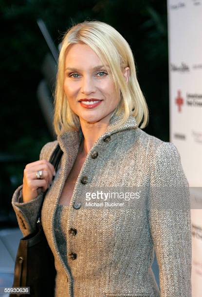 Actress Nicolette Sheridan arrives at the celebrity live and silent auction benefitting victims of Hurricane Katrina at a private residence on...