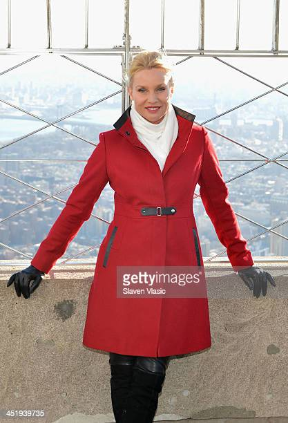 "Actress Nicollette Sheridan celebrates the premiere of ""The Christmas Spirit"" at The Empire State Building on November 25, 2013 in New York City."