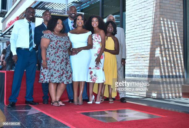 Actress Niecy Nash poses with her family on her Hollywood Walk of Fame Star ceremony in Hollywood California on July 11 2018 Niecy Nash was the...