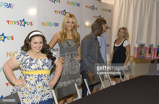 Actress Nikki Blonsky Actress Amanda Bynes Actor Elijah Kelley Actor Zac Efron Actress Brittany Snow attend the Hairspray Cast Members Launch Fashion...