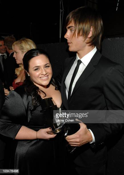 Actress Nikki Blonsky and actor Zac Efron backstage at Hollywood Film Festival's Hollywood Awards at the Beverly Hilton Hotel on October 22 2007 in...