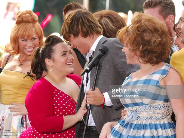 """Actress Nikki Blonsky and actor Zach Efron perform with other members from the cast of """"Hairspray"""" on NBC's """"Today Show"""" Toyota Concert Series at..."""