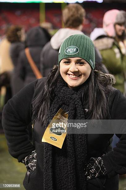 Actress Nikki Blonsky checks out the action on the sidelines when she attends the Cincinnati Bengals vs. New York Jets game at Giants Stadium on...