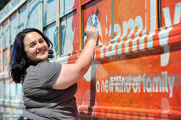 Actress Nikki Blonsky signs the Live Huge bus as part of the ABC Family Live Huge bus campaign on July 6 2010 in Valencia California
