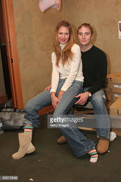 Actress Nikki Cox and actor Jay Mohr visit the Ugg Australia display at the Gibson Gift Lounge during the 2005 Sundance Film Festival on January 26...