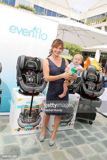 Actress Nikki DeLoach and William Hudson Goodell attend Favordby's 3rd annual Red CARpet Safety Awareness Event presented by Evenflo at Skirball...