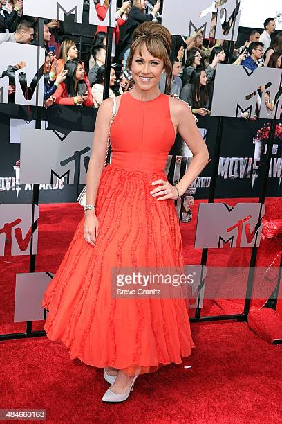 Actress Nikki Deloach attends the 2014 MTV Movie Awards at Nokia Theatre LA Live on April 13 2014 in Los Angeles California