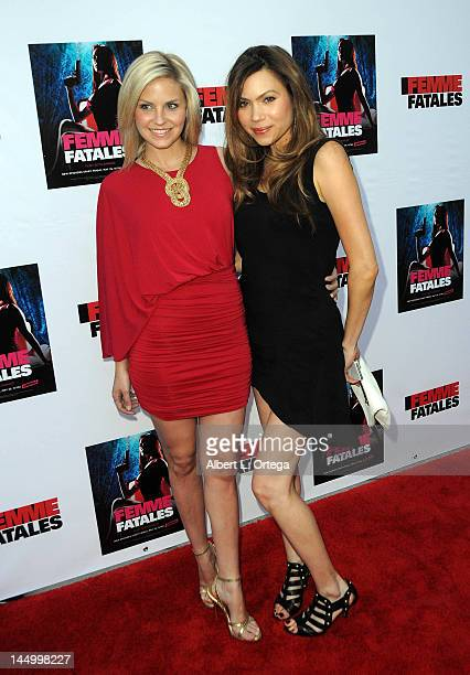 Actress Nikki Griffin and actress Jennifer Roa arrive for the Screening For Cinemax's Femme Fatales 2nd Season held at ArcLight Hollywood on May 21...