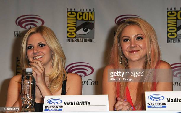 Actress Nikki Griffin and actress Madison Dylan participate at WonderCon Anaheim 2013 Day 1 at Anaheim Convention Center on March 29 2013 in Anaheim...