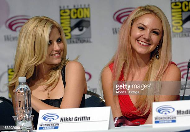 Actress Nikki Griffin and actress Madison Dylan participate in WonderCon Anaheim 2013 Day 1 held at Anaheim Convention Center on March 29 2013 in...