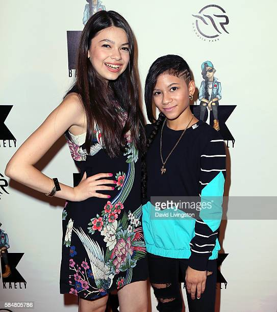 Actress Nikki Hahn and rapper Baby Kaely attend Baby Kaely's End of Summer Bash at The Mag Park on July 30 2016 in Burbank California