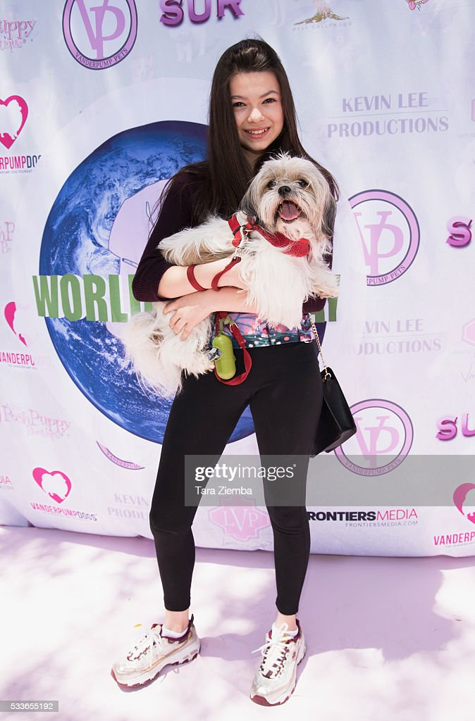 Actress Nikki Hahn attends World Dog Day Celebration at The City of West Hollywood Park on May 22, 2016 in West Hollywood, California.