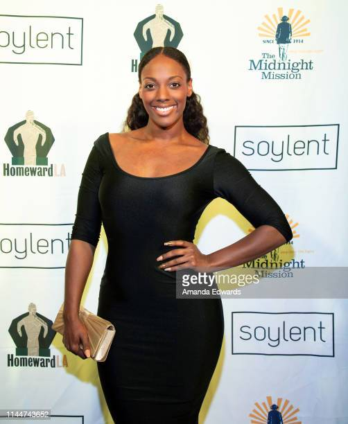 Actress Nikki Lashae attends a celebrity live reading to benefit homeless charities hosted by The Midnight Mission and Homeward LA at the American...