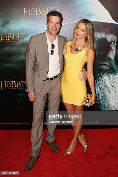 Actress Nikki Osborne and her husband Jamie Starr arrive at the premiere of 'The Hobbit Demolition Of Smaug' at Village Cinemas Rivoli on December 17...