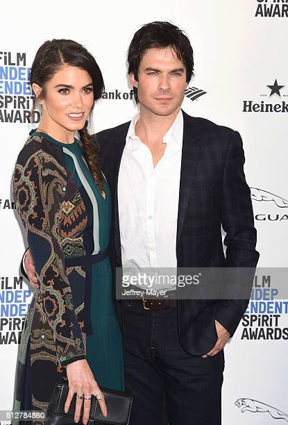 Actress Nikki Reed and actor Ian Somerhalder arrive at the 2016 Film Independent Spirit Awards on February 27 2016 in Santa Monica California