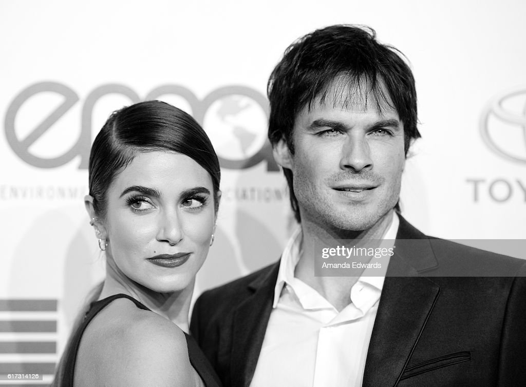 Actress Nikki Reed (L) and actor Ian Somerhalder arrive at the 26th Annual EMA Awards at Warner Bros. Studios on October 22, 2016 in Burbank, California.
